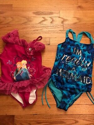 f98b7e7ad9d EUC JUSTICE DISNEY Store Girls size 9/10 Bathing Swim Suit Lot of 2 ...