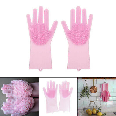 1Pair Magic Silicone Cleaning Brush Scrubber Gloves Heat Resistant Clean Glov SU
