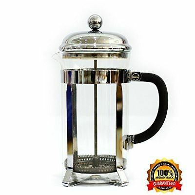 Glass Coffee/Tea French Press - Stainless Steel NEW Free shipping