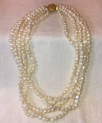 "REAL 8mm Freshwater Pearl 3 Strand Style 24"" /& 26"" /& 28"" NECKLACE 187.6gr"