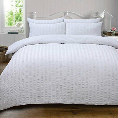 Highams Seersucker Duvet Cover with Pillow Case Bedding Set, Luxury White - Supe