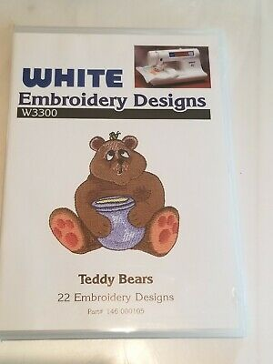 White Embroidery Designs W3300 Card Teddy Bears