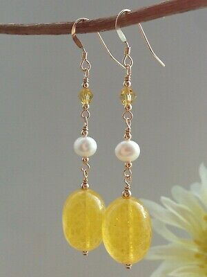 Art Deco Yellow Mottled Uranium Glass & FW Pearls 14ct Rolled Gold Earrings
