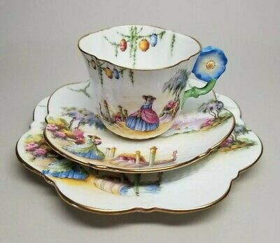 Aynsley Flower Handle VENETIAN LADY China Tea Cup Saucer Plate TRIO England RARE