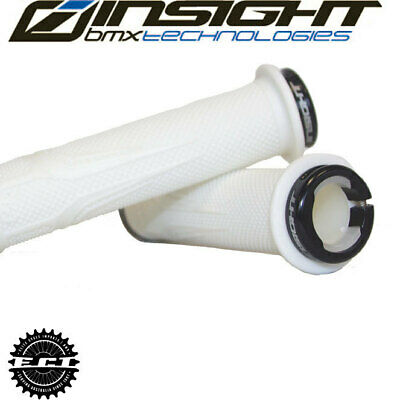 White//Black BMX Grips Lock-on with Alloy Collars INSIGHT Grips c.o.g.s.115mm