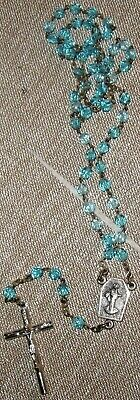 Vintage Rosary Blue Crystal Faceted Beads Jesus On The Cross Inri Made In Italy