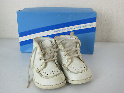 Vintage Child Life 125 White Baby High Top Infant Shoes 3 C