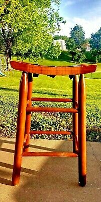 Original Curved Stable Horse Saddle Chair Stool Woven Antique Barn Wooden Seat