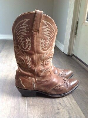 44417002f76 VTG ACME BROWN Tan distressed Leather COWBOY BOOTS Ropers mens 9.5 ...