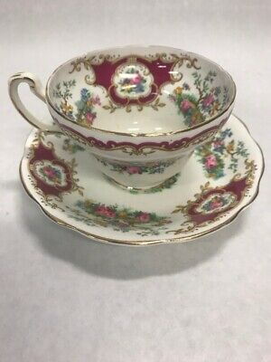 Vintage Red Foley Broadway marked China Tea Cup Saucer floral gold England