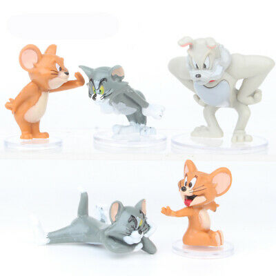Tom And Jerry Cat Mouse And Dog Action Figure 5 PCS Kids Gift Cake Topper Toy US