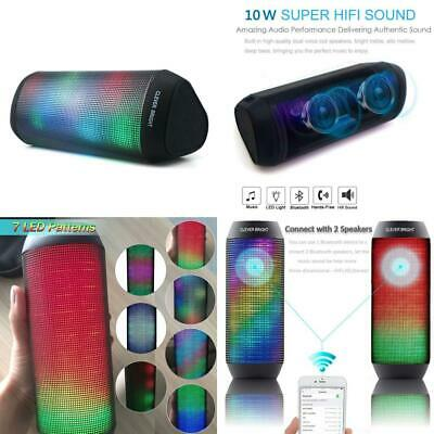 CLEVER BRIGHT Portable Bluetooth Speakers LED Lights 7 Patterns Visual...