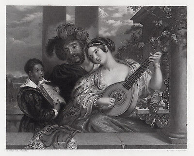 """Superb 1800s WILLIAM ETTY Antique Engraving """"The Lovers Duet"""" SIGNED Framed COA"""