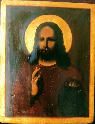 Antique 19C Hand Painted Russian Icon Of Christ
