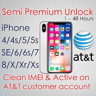 Premium Unlock Iphone X Xr Xs Max 8 7 6S 5S At&T Imei Active On Customer Account