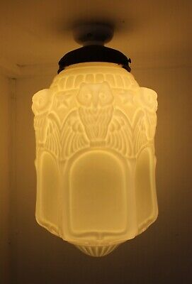 1930's Large Milk Glass Pendant Lamp Shade Owl Motif Art Deco Nouveau Vintage An