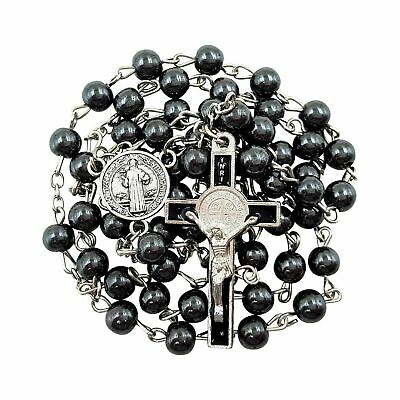 BLESSED CATHOLIC ROSARY NECKLACE Black Hematite Beads Saint Benedict Medal & ...