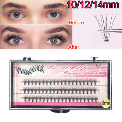 7847248a94e Individual 60 Stand Thick False Eyelashes 10/12/14mm Mixed Flare Cluster  Knot UK