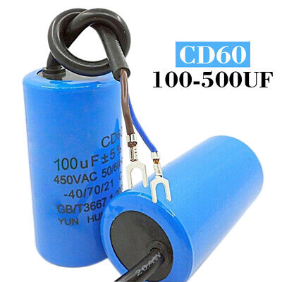 100uF-500uF CD60 450VAC50/60Hz Pre-Wired Cable Start Run Capacitor For Generator