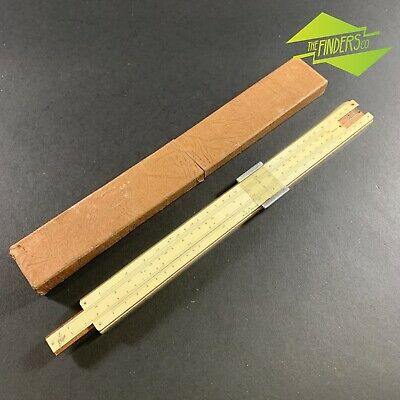 Vintage English Made 'Classic' Series One Wood & Celluloid Slide Rule In Case