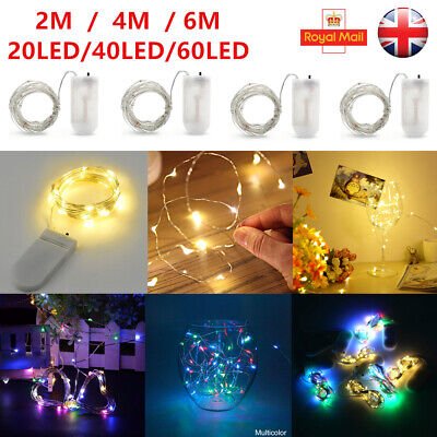 20/40/60 LED Battery Micro Rice Wire Copper Fairy String Lights Party Wedding UK