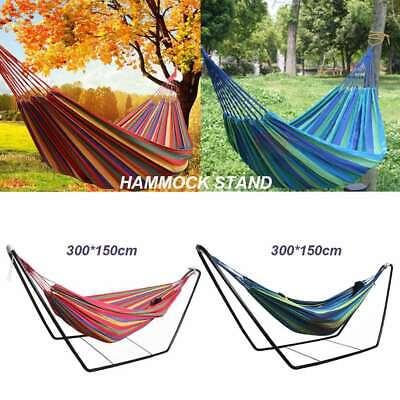 Portable Garden Double Hammock with Steel Stand Travel Camping Swing Bed Outdoor