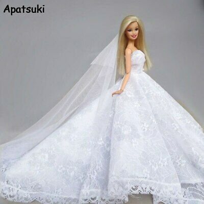 Pure White Lace Fashion Doll Clothes Wedding Dress For Barbie Dolls Outfits 1/6