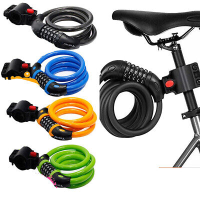 5 Digit Code Combination Bicycle Security Lock Steel Cable Spiral Bike Code Lock