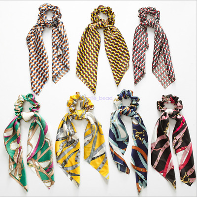 Fashion Boho Print Ponytail Scarf Bow Ponytail Holder Hair Rope Elastic HairBand