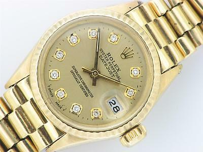 Rolex Oyster Perpetual Datejust Ladies 18K Gold Diamond Watch Rolex Vintage