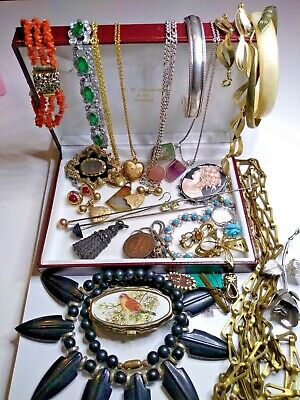 Antique bulk lot jewelery including gold lined sterling silver coral hat pins