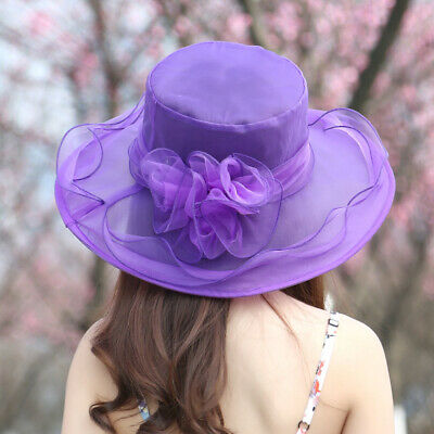 Wedding Ladies Day Race Royal Ascot Hatinator Brim Large Hat Fascinator Organza