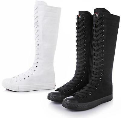 New Womens Girl Punk Gothic Black Canvas Boots Sneakers Trainers Knee High Shoes