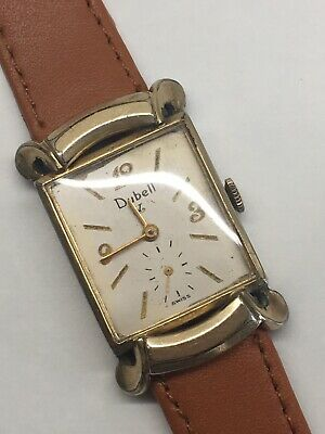 Vintage Winton Dubell V 10k Gold Filled Art Deco Mens Watch 17 Jewels 40s Swiss