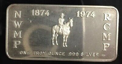 PMP CANADA ROYAL CANADIAN MOUNTED POLICE 1 Troy Oz 999 SILVER ART BAR MP-12