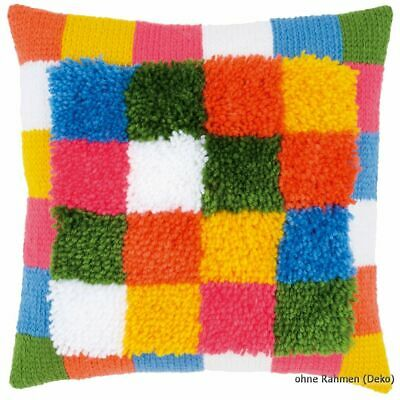Vervaco Latch hook & stitch kit cushion Bright squares, DIY