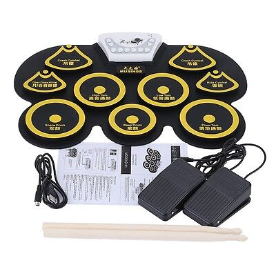 Foldable USB Midi Roll-up Electronic Drum Pad Kit w/sticks and Foot Pedal Yellow