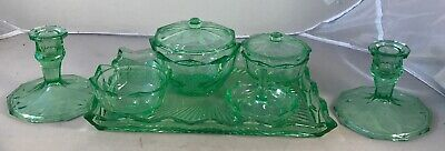 Vintage Green Glass Vanity Dressing Table Set 7 piece set with tray and ring pot
