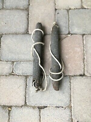 LOT 2 Two Vintage Antique Window Sash Cast Iron Weights : ~ 6 Lbs Ea