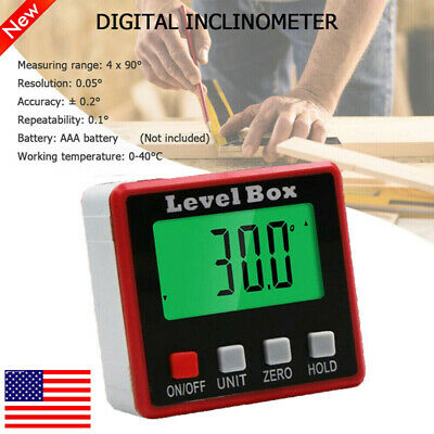 US Mini Digital Protractor Gauge Level Angle Finder Inclinometer Magnet Base LCD