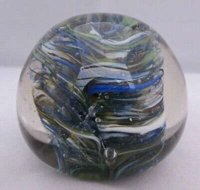 Vintage Blue Green White Swirls Art Glass Paperweight 7 Cm Diameter