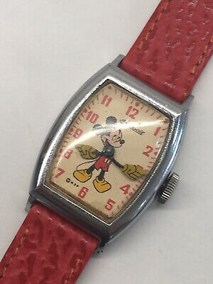 Vintage Ingersoll Mickey Mouse 1940s Wrist Watch US Time Disney Ticks