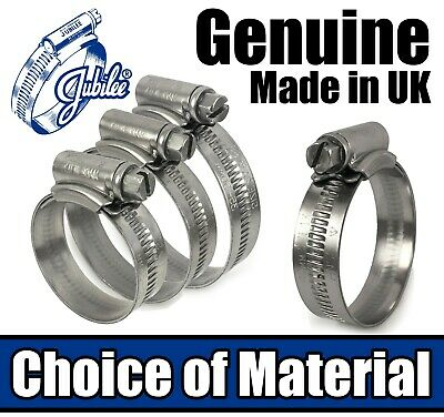 Genuine Jubilee Hose Clips Stainless Steel / Mild Steel Pipe Clamps Worm Drive