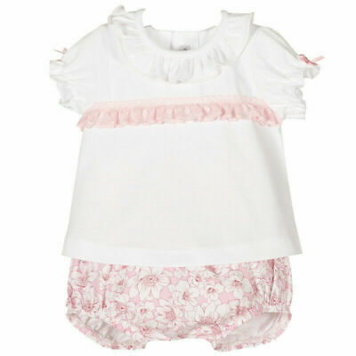 Baby Girls Spanish Pretty Pink Lace Frilled White Cotton Top & Floral Jam Pants