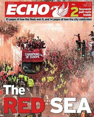 Liverpool v Spurs Echo Champions of Europe Parade Newspaper - 3rd June 2019