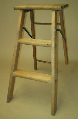 Vintage 2 Step Wood Ladder Folding Plant Stand Farmhouse Display Rustic Decor