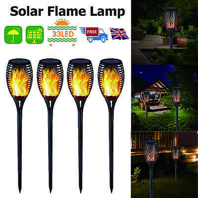 4 Pack Flame Solar Torch Light Waterproof Flickering Dancing Garden Lantern Lamp