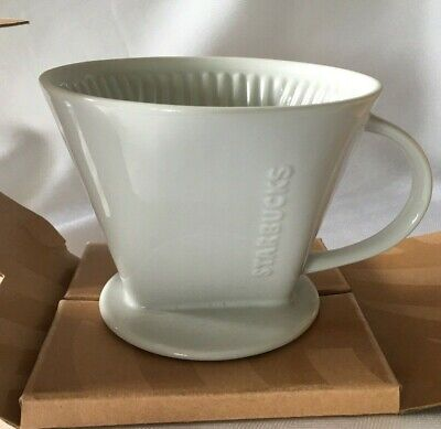 STARBUCKS Pour-Over Cone Single Cup Coffee Tea Dripping Brewer White Ceramic #4