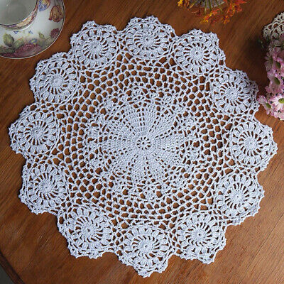 "15"" White Vintage Cotton Handmade Crochet Doily Doilies Round Wedding Tea Party"