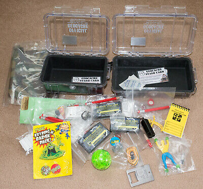 geocache geocaching pelican boxes, logbooks and exchangeables lot, cache